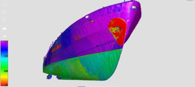 Ship component scanning for hull deformation analysis
